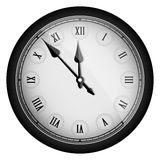 Black realistic vintage clock isolated on white Stock Photography