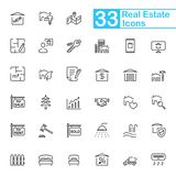 Black Realty Line Icons. 33 black realty line icons for mobile phone interface, apps and web Stock Photos
