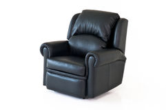 Black reclining leather chair. On white background Royalty Free Stock Photography