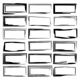 Set of black rectangle empy grunge frames.  Vector illustration. Black rectangle grunge frames. Geometric empty borders. Template for graphic design. Vector Royalty Free Stock Image