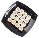Black rectangle plate with sushi Stock Images