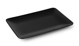 Black rectangle serving platter Stock Photos