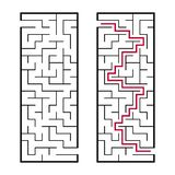 Black rectangular labyrinth with an input and an exit. An interesting and useful game for children. Simple flat vector illustratio. N isolated on white stock illustration