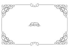 Black rectangular ornate border with vignette corners. Royalty Free Stock Photo