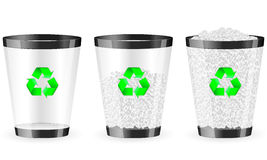 Black recycle bin set Royalty Free Stock Images