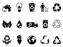 Black recycling icons set. Isolated black recycling icons set from white background Royalty Free Stock Photos