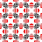 Black and red abstract background. Black and red abstract seamless pattern with curved and round shape stock illustration
