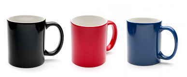 Black, Red And Blue Cups Stock Image