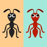 Black and red ants. Black and red ant cartoon characters illustration Stock Photo