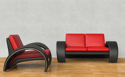 Black And Red Armchair and Sofa Royalty Free Stock Photography