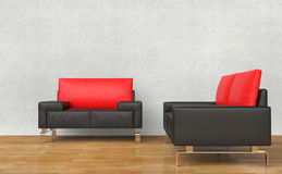 Black And Red Armchairs. In a living room Stock Image