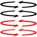 Black and red arrows with in flatness double direction. Royalty Free Stock Photo