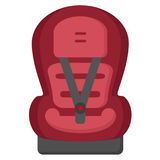 Black And Red Baby Car Seat, Front View Isolated On A White Background. Vector Illustration. Stock Photo