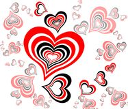 Black-red background with Hearts Stock Image