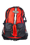 Black and red backpack. A black and red backpack over a white background royalty free stock photography