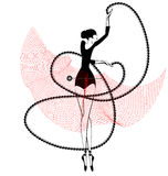 Black red ballet girl and pin Stock Images