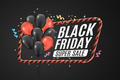Black and red balloons in a red frame with black lines. Sign of caution. 3D Banner for sale Black Friday on a dark background. Whi. Te text. Multicolored Royalty Free Stock Photo