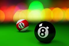 Black and red billiard balls on green background.3d rendering. Black and red billiard balls on green background.3d render Stock Photography