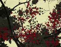 Black and red blossom print on cream ribbed Royalty Free Stock Photos