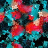 Black, red and blue seamless pattern watercolor blots. For background royalty free stock images