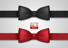 Black and red bow tie, realistic vector illustration, isolated on white background. Elegant silk neck bow. Vip event accessory Royalty Free Stock Image