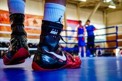 Boxer boots in the ring royalty free stock image