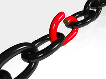 Black and red broken chain.  stock illustration