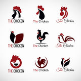 Black red and brown Chicken logo vector set design Royalty Free Stock Photo