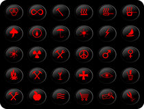 Black and red buttons. Web buttons, with various signs and symbols on them,black and red color scheme Stock Photo