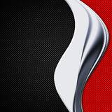 Black and red carbon fiber and chromium frame. Royalty Free Stock Image