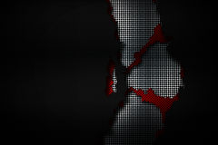 Black and red carbon fiber tear on the black metallic mesh. Background and texture. 3d illustration vector illustration