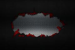 Black and red carbon fiber tear on the black metallic mesh. Background and texture. 3d illustration royalty free illustration