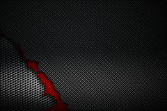 Black and red carbon fiber tear on the black metallic mesh. Background and texture. 3d illustration stock illustration