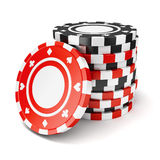 Black and red casino tokens Royalty Free Stock Images