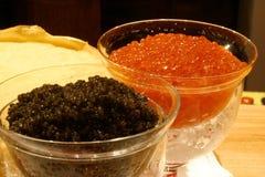 Black and Red Caviar. Macro Stock Photo