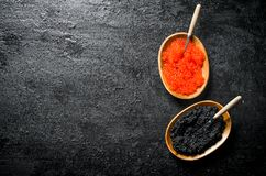 Black and red caviar in bowls with spoons. On black rustic background royalty free stock photo