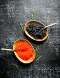 Black and red caviar in bowls with spoons. On black rustic background royalty free stock images