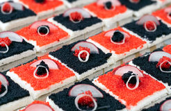 Black and Red Caviar Canape Royalty Free Stock Photo