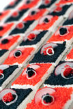 Black and Red Caviar Canape Stock Images
