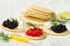 Black and red caviar canape Royalty Free Stock Images