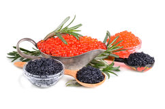 Black and red caviar stock image