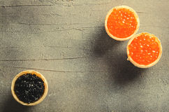 Black and red caviar tartlets, appetizer canapes on gray background, top view Royalty Free Stock Photos