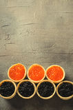 Black and red caviar tartlets, appetizer canapes on gray background, top view Royalty Free Stock Photo