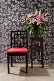 Black red Chair and side table Stock Photo