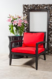 Black red Chair and side table Stock Photography