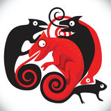Black and red chameleons Royalty Free Stock Images