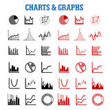 Black and red charts or graphs icons. For business or infographic themes Stock Photo