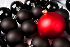 Black and red Christmas baubles. Stock Photo