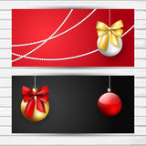 Black and red Christmas flyer set. With decoration golden and red balls and bows; vector banner Stock Photo