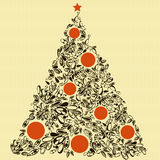 Black and red  christmas tree. The cute background with christmas tree in vintage style Royalty Free Stock Photography